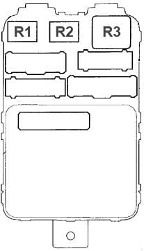 Acura MDX - fuse box diagram - Passenger's Under-dash Fuse/Relay Box (back side)