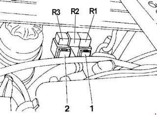 Alfa Romeo 155 - fuse box diagram - 2.4 V6 model