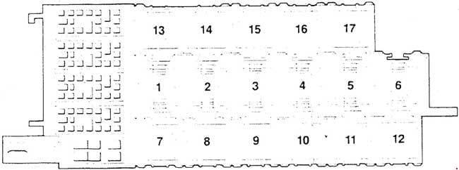 Audi 200 C3 - fuse box diagram - auxiliary relay panel