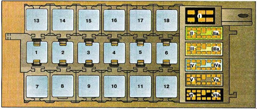 Audi 80 (B3) - fuse box diagram - auxiliary relay panel