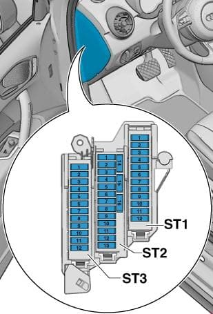 Audi A1 - fuse box diagram - fuse holder C-SC-