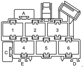 Audi A2 - fuse box diagram - connector point a pillar, left