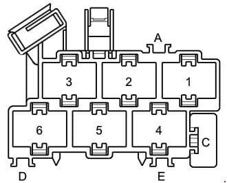 Audi A2 - fuse box diagram - connector point a pillar, right
