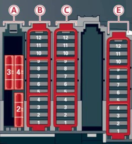 Audi A4 - fuse box diagram - luggage compartment