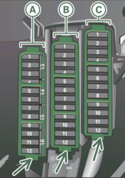 Audi A5 - fuse box diagram - left cocpit