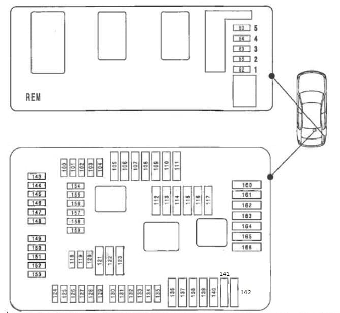 BMW 1-Series (F20/F21) - fuse box diagram - luggage compartment