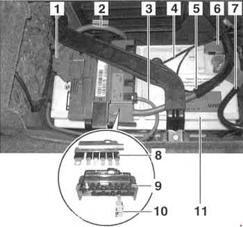 BMW 3-Series (E90, E91, E92, E93) - fuse box diagram - rear power distribution panel