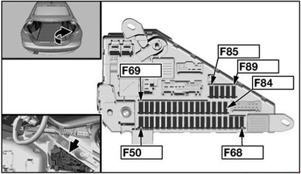 BMW 5-Series - fuse box diagram - rear