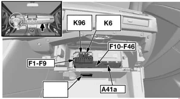 BMW 6-Series (E63 and E64) - fuse box diagram - dashboard