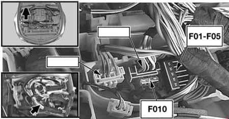 BMW 6-Series (E63 and E64) - fuse box diagram - engine compartment (N52)