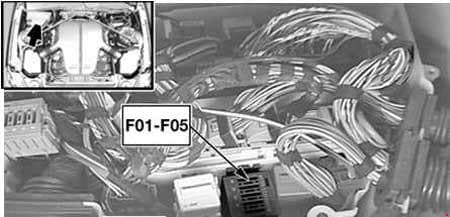 BMW 6-Series (E63 and E64) - fuse box diagram - engine compartment (S85)