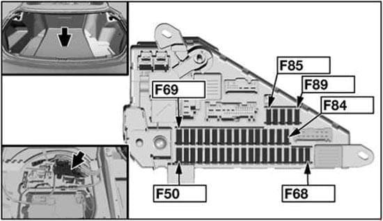 BMW 6-Series (E63 and E64) - fuse box diagram - in rear