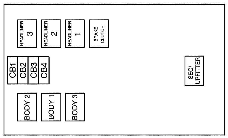 Cadillac Escalade mk3 - fuse box - center instrument panel (top view)
