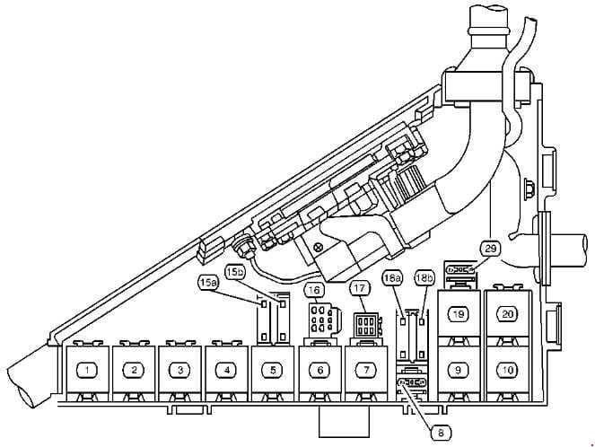 Cadillac Catera - fuse box diagram - engine compartment (version 2)