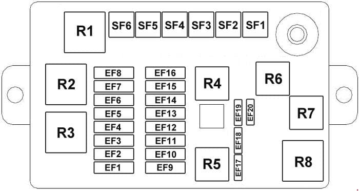 Chery J1 - fuse box diagram - engine compartment