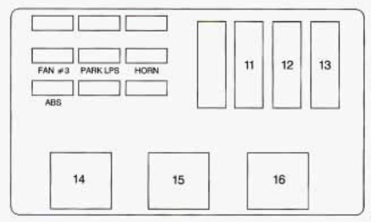 Chevrolet Monte Carlo - fuse box - underhood electrical center driver side