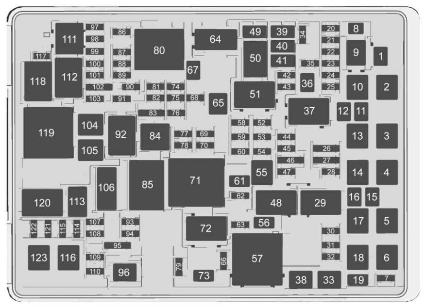 Chevrolet Suburban - fuse box - engine compartment