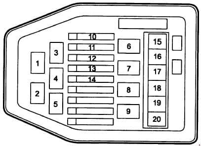 Deawoo Korando - fuse box diagram - engine compartment fuse box