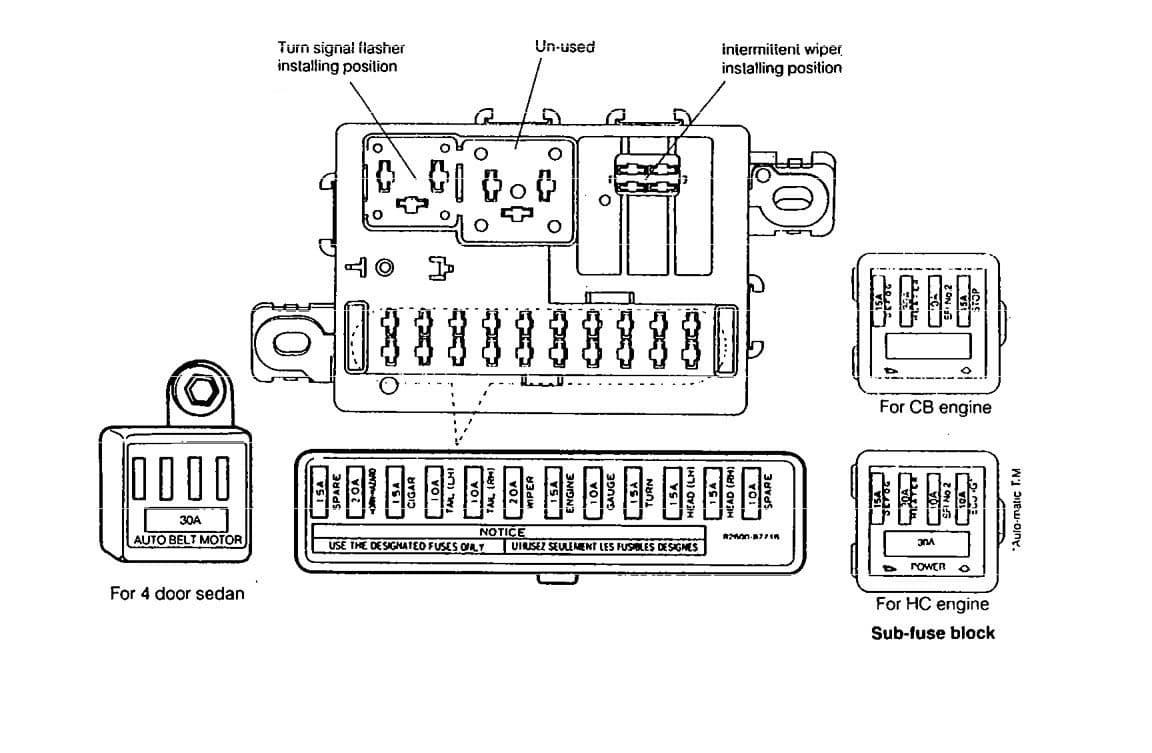 Daihatsu Charade - fuse box diagram