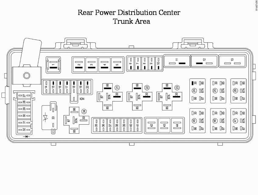 Dodge Challenger RT/SRT Third Generation - fuse box - rear power distribution - ceneter trunk area
