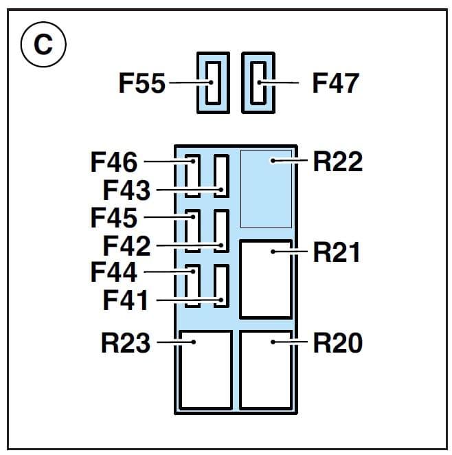 Ferrari Enzo - fuse box - engine compartment (box C)