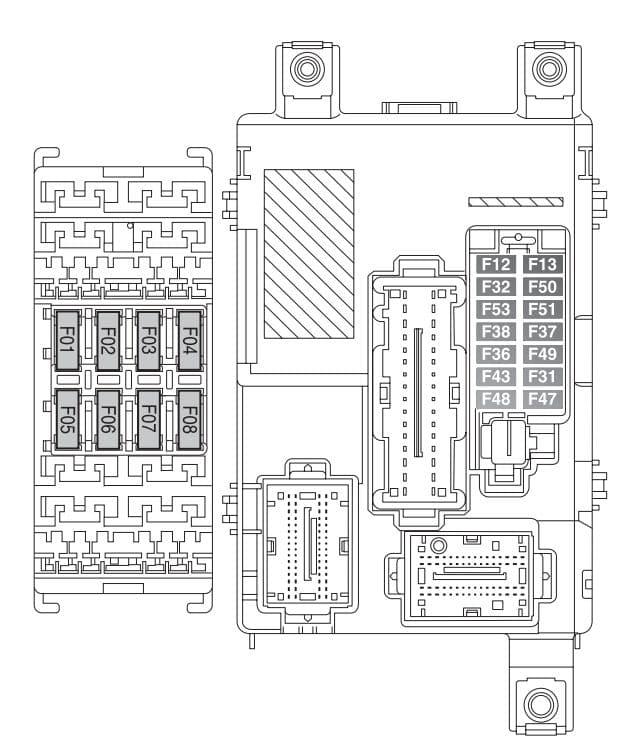 Fiat Doblo mk2 FL - fuse box - passenger compartment