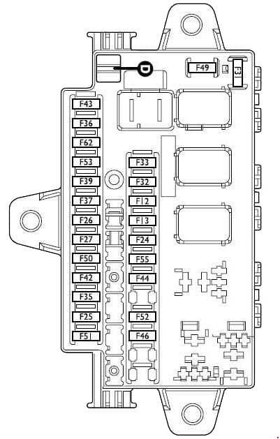 Fiat Ducato - fuse box diagram - Main fusebox under the dashboard on driver's side for LH drive versions, on passenger's side for RH drive versions