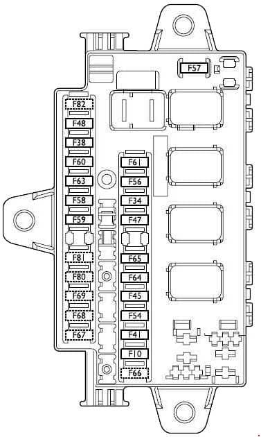 Fiat Ducato - fuse box diagram - fusebox under the dashboard on passenger's side for LH drive versions, on driver's side for RH drive versions