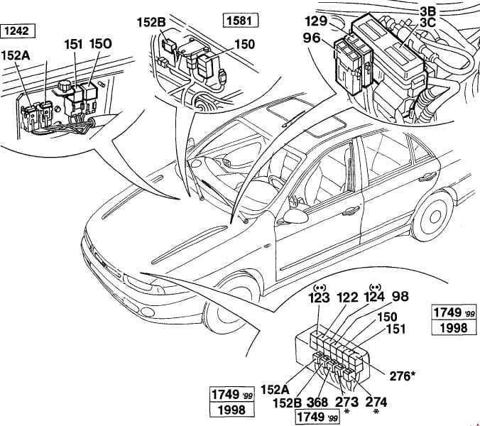 Fiat Marea - fuse box diagram - location - engine  compartment - petrol