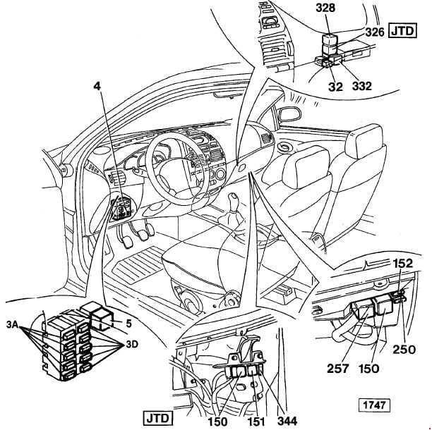 Fiat Marea - fuse box diagram - location - passenger compartment