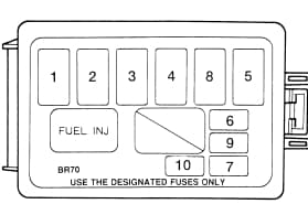 Ford Escort M2 - fuse box in engine (1.8l) compartment - USA version