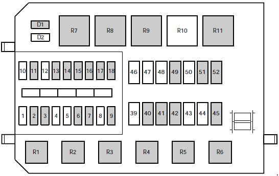 Ford Contour - fuse box diagram - engine compartment