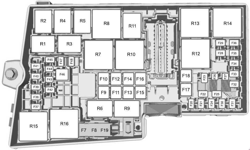 Ford Escape - fuse box diagram - engine compartment