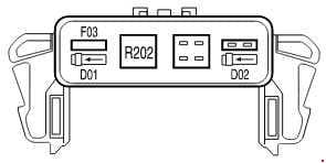 Ford F-150 - fuse box diagram - auxiliary relay box (without DRL)