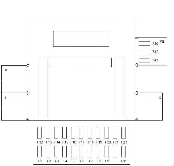 Ford Fiesta - fuse box diagram - passenger compartment (type 1) RHD