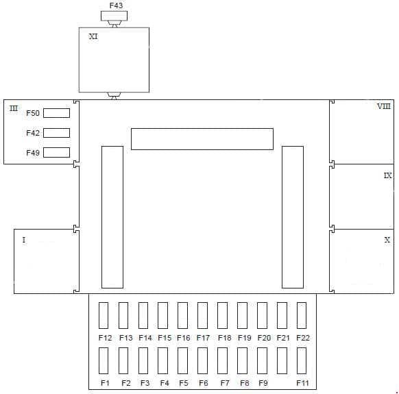 Ford Fiesta - fuse box diagram - passenger compartment (type 2) LHD