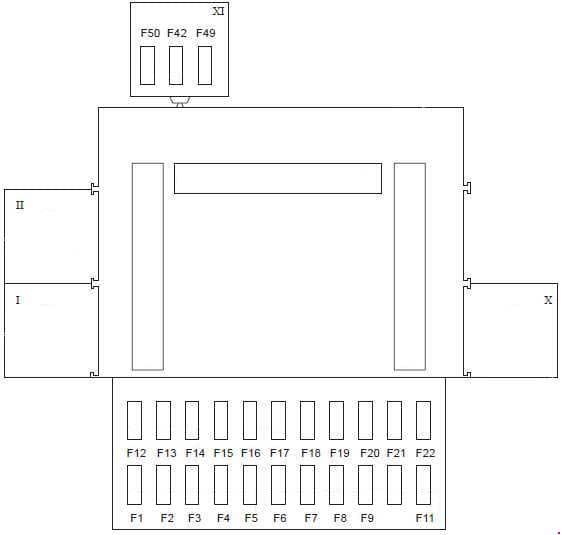 Ford Fiesta - fuse box diagram - passenger compartment (type 2) RHD