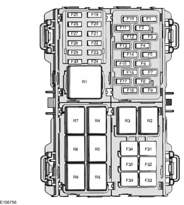 Ford Fiesta mk7 (2015) - fuse box - passenger compartment