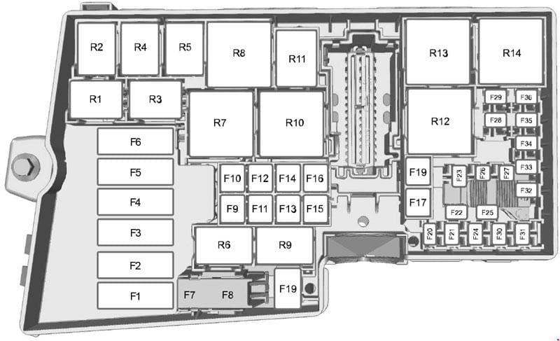 Ford Focus - fuse box diagram - engine compartment