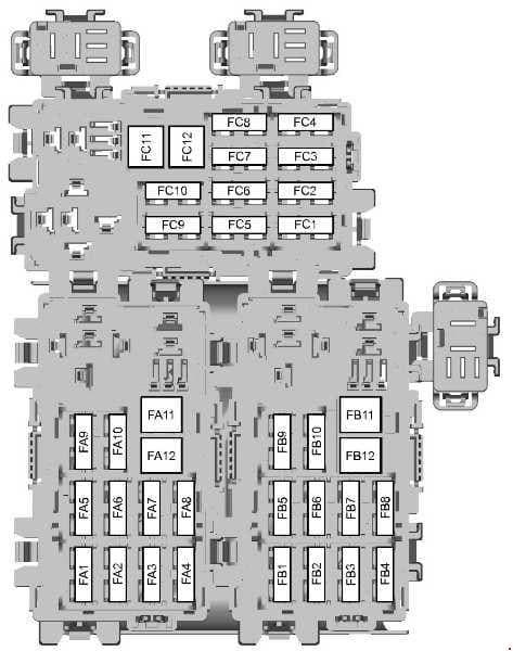 Ford Galaxy - fuse box diagram - rear fuse box