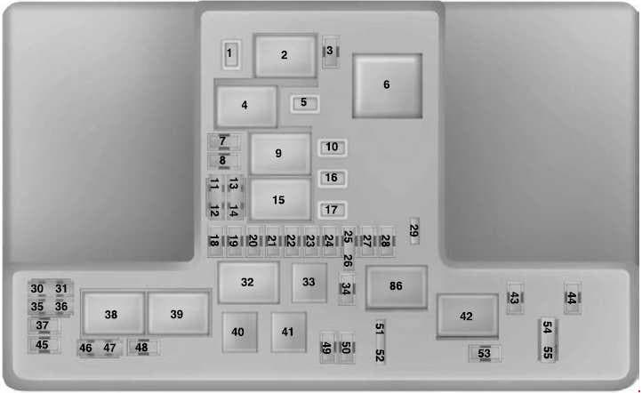 Ford Ranger - fuse box diagram - engine compartment fuse box (type 2)