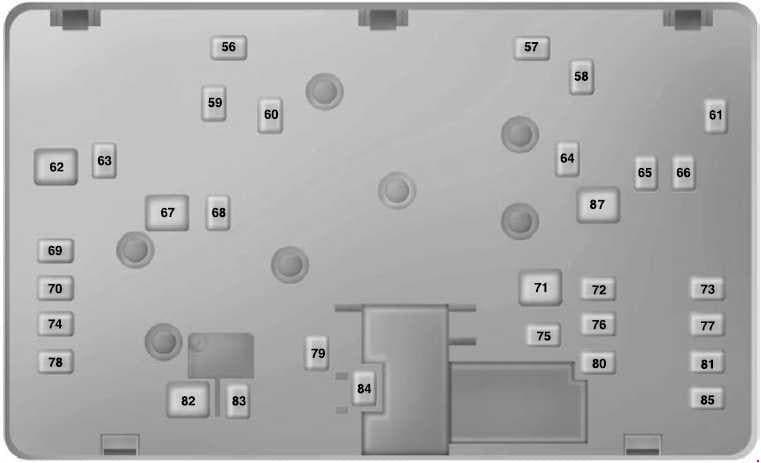 Ford Ranger - fuse box diagram - power distribution box - bottom