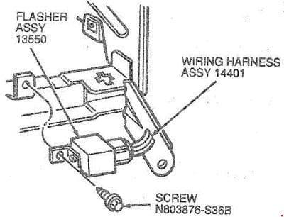 Ford Taurus - fuse box diagram - flasher location