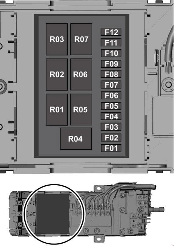 Ford Transit - fuse box diagram - prefuse box (2.0l diesel)