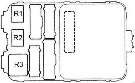 Honda Accord - fuse box diagram - dashboard (passenger's side) - rear view