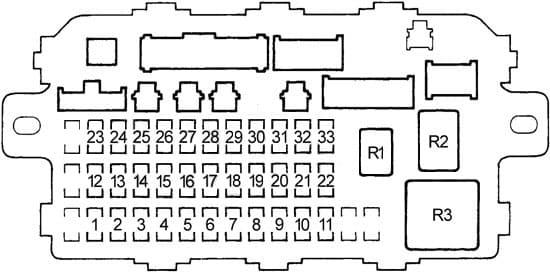 Honda Civic - fuse box diagram - passenger compartment fuse box