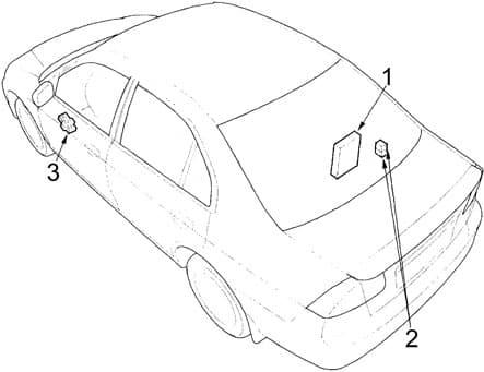 Honda Civic - fuse box diagram - sedan, coupe