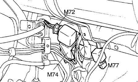 Hyundai H100 - fuse box diagram - Wiper intermittent relay (M74), Relay with diode (M77), Defoqqer relay (M72)