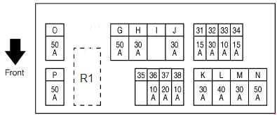 Infiniti FX35 - fuse box diagram - engine compartment (E213)
