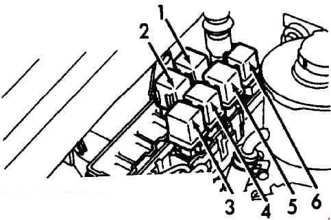 Infiniti G20 - fuse box diagram - engine compartment relay box